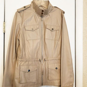 bebe womens new size L leather anorak jacket snaps